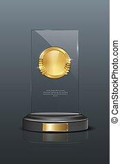 Glass award realistic vector illustration