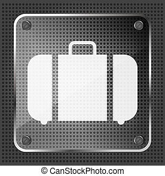 glass baggage icon on a metallic background