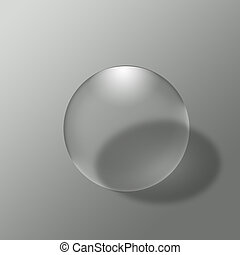 Glass ball on grey background