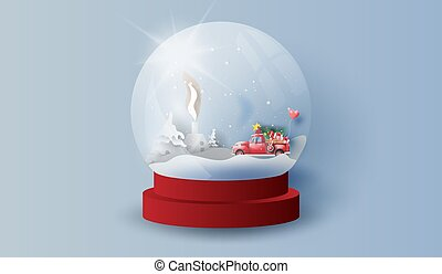 Glass ball snow stand with red Classic pickup truck car view landscape home. Happy new year and Merry Christmas day. Creative design paper art and craft. Gift decoration for holiday and winter. vector