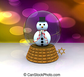 Glass ball with Snowman - 3D - 3d illustration - glass ball...