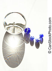 glass balls - blue marbles and crystal ball