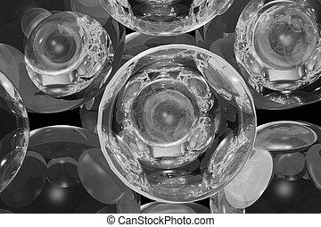 glass balls in the bw light