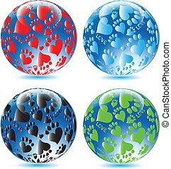 Glass balls Love paw print