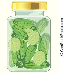 Glass bank with salty cucumber on white background