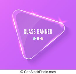 Glass banner realistic vector illustration