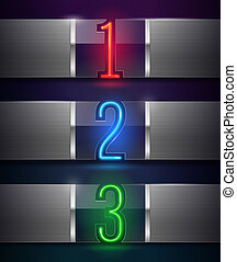 Glass banners with neon numbers - Design template - vector...