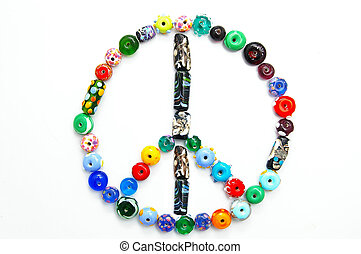glass bead peace sign on white