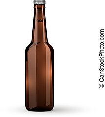 Glass Beer Brown Bottle On White Background Isolated.