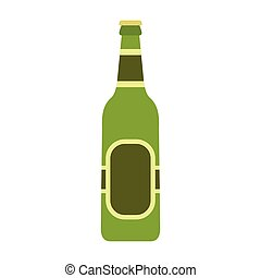 Glass beer green bottle icon, flat style