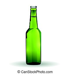 Glass Beer Green Bottle On White Background Isolated.