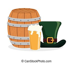glass beer hat and wooden barrel
