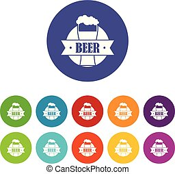 Glass beer icons set vector color