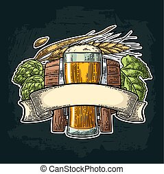 Glass beer with ribbon, barrel, and hop branch.