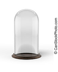 Glass bell with wooden base
