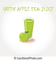 glass bio fresh green apple juice. Vector illustration. Text title.