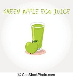 glass bio fresh green apple juice. Vector illustration. Text title.