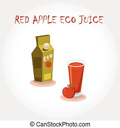 glass bio fresh red apple juice. Vector illustration. Text title.