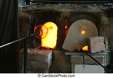 Glass Blast Furnace - Hot glass in front of the furnace...