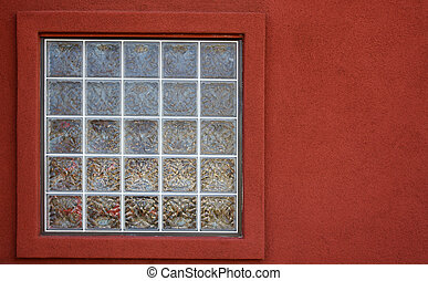 Glass block window red wall - Glass block window with a red...