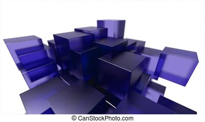 Glass blocks cubes floating interlocking abstract tech...
