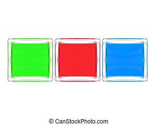 Glass Blocks - Glass blocks isolated against a white...