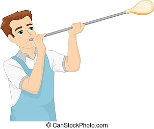 Glass Blower - Illustration Featuring a Man Blowing Glass