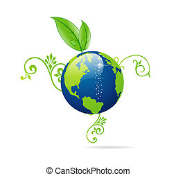 blue and green eco earth sign isolated