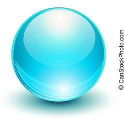 Glass blue ball, 3D icon