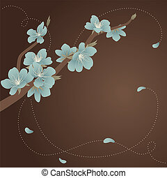 Glass blue blooming branch - Greeting card with stylized...