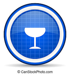 glass blue glossy icon on white background
