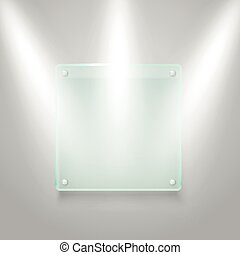 Glass board illuminated on the wall. Vector mockup