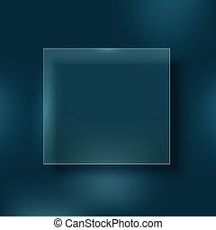 Glass board on color background. Design template