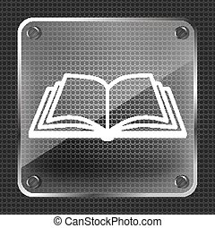 glass book icon on a metallic background - vector illustration