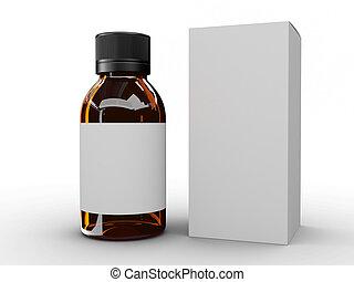 Glass Bottle, 3D render, white lable