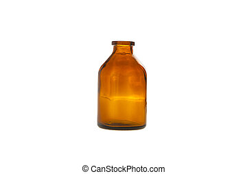glass bottle brown for medicine isolated on white background
