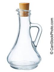 Glass bottle for oil isolated on white