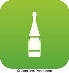 Glass bottle icon digital green