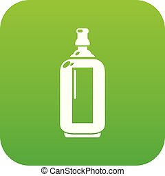 Glass bottle icon green vector