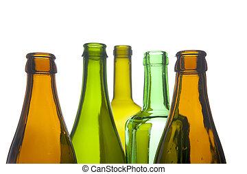 Glass bottle macro - object on white - Glass bottle closeup