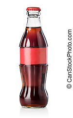 Glass bottle of cola isolated on white background