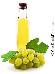 Glass bottle of green wine vinegar