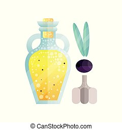 Glass bottle of olive oil and garlic, organic healthy oil product and spice vector Illustration on a white background