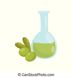 Glass bottle of olive oil, organic healthy food vector Illustration on a white background