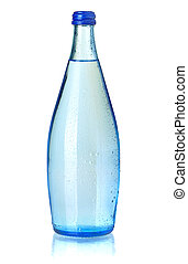 Glass bottle of soda water with water drops. Isolated on...