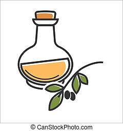 Glass bottle of virgin olive oil near brunch on white