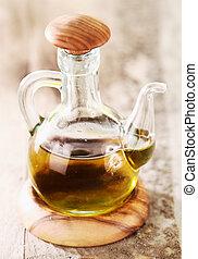 Glass bottle of virgin olive oil