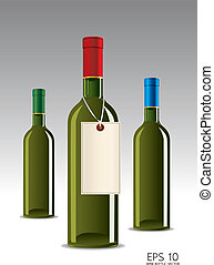 glass bottle of wine vector