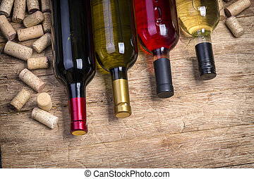 Glass bottle of wine with corks