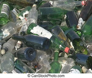 Glass bottle recycling.